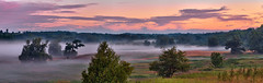 Early Sunday morning (virgil martin) Tags: dawn fog panorama goldenhour landscape river mist morningmist fallcolors grandriver elora ontario canada olympusomdem5 oloneo microsoftice gimp
