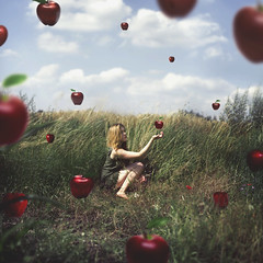 Eve (laurawilliams) Tags: adam eve temptation red apple field girl nikon d5750 sky summer spring fruit surreal surrealism photoshop square bible eden garden