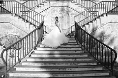 The bride (RosLol) Tags: roslol gaia gaiasnose bride sposa stairs scale decay urban lines linee staircase architecture architettura bw blackandwhite biancoenero abito dress steps people woman donna wedding matrimonio