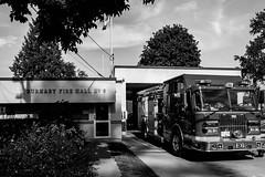 Fire Hall No. 6 (Bethany Koepke) Tags: firehall blackandwhite firetruck outside burnaby firedepartment