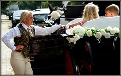 Southport surprise (* RICHARD M (Over 5 million views)) Tags: candid street southport sefton merseyside surprisesurprise horsedrawncarriage weddingcarriage footman weddings livery liveriedfootman femalefootman flowers roses whiteroses carriagefootman horseandcarriage ridingbreeches breeches ladiesbreeches waistcoat fancywaistcoat collarandtie blondeponytail handonhip vehicles horsedrawnvehicles traffic horsepower incongruous incongruity thedecisivemoment