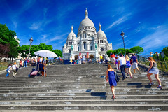 Stairs to Sacre Coeur in Paris, France (` Toshio ') Tags: toshio paris france sacrecoeur basilica sacrecoeurbasilica people stairway church religion europe european europeanunion architecture tourists fujixe2 xe2