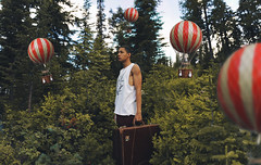 Traveling with no destination 32/365 (Carlos Castaeda') Tags: hotairballoon nature tress pines idaho sandpoint mountain green colors red explore edit photoshop lightroom vsco presets film expansion selfportrait me guy bag suitcase traveling travel destination journey