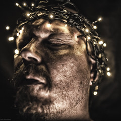 nazareno (sami kuosmanen) Tags: jeesus jesus nazarettilainen christ uskonto religion kuusankoski kouvola suomi finland flash funny face fun night naama north europe man mies salama valo light beard parta p head portrait jeshua hamashiach     ya nazareth christianity son god messiah goth dark holy spirit tumma scary weird nazareno vanha potretti led lights jouluvalot christmaslights selfie