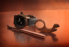 Patina (Fly to Water) Tags: copper brass bronze patina edc every day carry pocket tool watch zelos eagle e1c pilot aviator aviation time piece timepiece techliner ti2design tactical pen vox voxnaes jesper snail snailor bottle opener knuck knuckle duster professional product photography