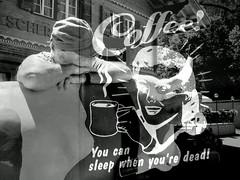 Coffee (krinkel) Tags: monochrome bw schwarzweiss doppelbelichtung doubleexposure kaffee coffee schlaf sleep werbung promotion
