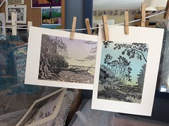 tree prints (annetownshend) Tags: lino linocut print printmaking relief block ink pegs proofs