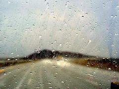 Rain Drops (Khaled M. K. HEGAZY) Tags: nikon coolpix p520 kingdomofsaudiarabia ksa nature outdoor closeup macro yellow blue brown white black rain drop road car light mountain المملكةالعربيةالسعودية