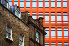 Contrasts (Daveography.ca) Tags: clash gb greatbritain brick buildings windows newold unitedkingdom contrast london orange walls building comparison architecture city wall oldnew uk britain