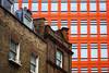 Contrasts (Daveography.ca) Tags: clash gb greatbritain brick buildings windows newold unitedkingdom contrast london orange walls building comparison architecture city wall oldnew uk britain