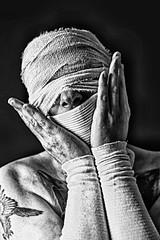 Dark (rockindave1) Tags: bandage hand hands dark darkart blackbackground blackwhite canoneos5dmark2 adobecs5 myself feelinglow