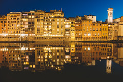 Arno River as a Mirror II (modesrodriguez) Tags: florence italy river reflection sky bluehour orange blue mirror buildings street architecture