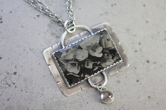 Hydrangea In Silver (angiebrockey) Tags: large format camera largeformatcamera bw photography black white blackandwhite hydrangea flowers brass lens antiquecamera wet plate collodion wetplatecollodion ambrotype tintype tin type glass sterlingsilver sterling silver mixed media mixedmedia quartzcrystal quartz crystal silversmith photopendant image jewelry nature light alternative process analoge darkroom