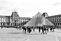 The Louvre with its Pyramid (EmperorNorton47) Tags: iledefrance france photo analog film blackandwhite nikonn8008 nikonn801 fomopan100 thelouvre palace pyramid impei glass