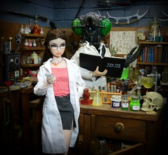 The Reluctant Lab Assistant (MiskatonicNick) Tags: toyville diorama erin paintedblack emmz thefly majesticstudios laboratory 16 sixthscale playscale