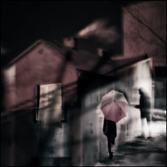Sleep walking. (Nellie Vin) Tags: color house window sleepwalking stranger man woman nellievinphotography prints red soft night light