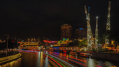 Light Lures (elenaleong) Tags: clarkequay singaporeriver nightscape elenaleong reversebungee boattrails outdoordining colorsofclarkequay oldgodowns conservationarchitecture touristattraction rivertaxis gmaxreversebungy