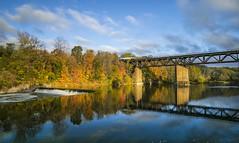 VIA rail over the Bridge (a56jewell) Tags: a56jewell train paris grandriver bridge colours leaves water fall oct