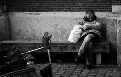 Sleeping is no mean art: for its sake one must stay awake all day. Friedrich Nietszche (Vikingbetty) Tags: old sleeping brussels portrait white man black zeiss bench garbage belgium belgique candid bank betty tired moe fullframe portret emotions brussel zwart wit nederlands halle oude slapen flandres vossenplein vuilnis vlaanderen buizingen sonya900 derkinderen variosonnar247028za vikingbetty