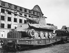 1945 Nuremberg, behind the tank we see the building of the factory MAN