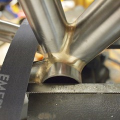 Finishing up a BB fillet. #weavercycleworks #custombicycles #filletbrazing