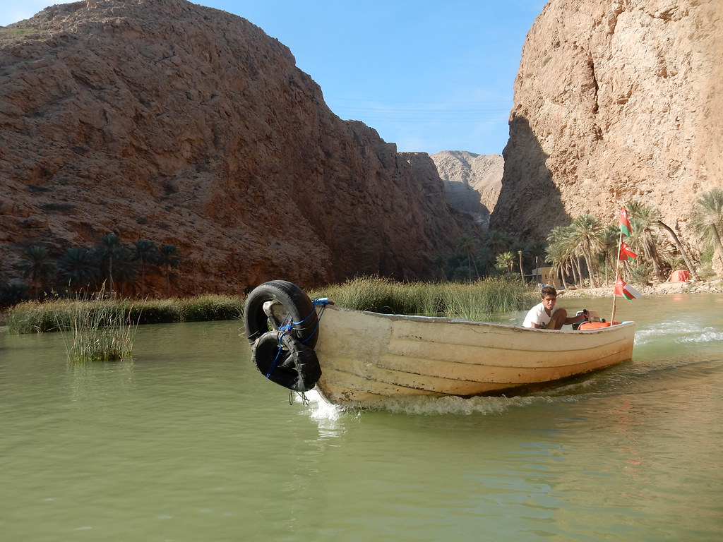 Taking a boat across the Wadi