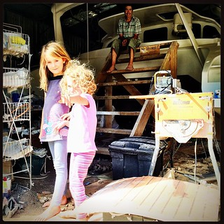 018/365 • as the boat get closer, we will all get to spend more time together - this time next week it will be out of the shed - not finished, but nearly... • #018_2015 #bellaluna #family #M #7yo #4yo #shed #multihull #movingout #catamaran
