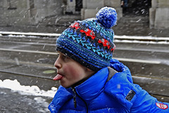 Catching snowflakes (t.horak) Tags: blue boy snow hat tongue fun snowflakes catching snowlakes