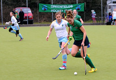 Greenfields vs UCD IHL 2015 Sinead M forcing the UCD into defensive action as she moves the ball through midfield. (Greenfields Hockey Club) Tags: ucd fieldhockey greenfields dangan ucdhockey greenfieldshockeyclub greenfieldshockey irishhockey connachthockey