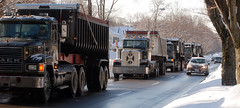 dump trucks staging for snow removal (ophis) Tags: dumptruck milton bluehillsparkway