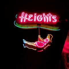 swinging since the '50s (SqueakyMarmot) Tags: heritage sign night vancouver neon burnaby restored helens suburb refurbished theheights swinginggirl