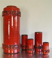 1960's - Ceramano - Ceralux - Vase - Group (boobooknuckles) Tags: red west art modern century germany lava space fat hans modernism pop age german vase op mid modernist gerda keramik welling mcm bodenvase heuckeroth