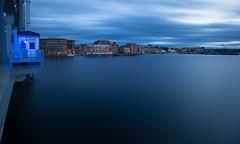 Portsmouth NH (jamesmerecki) Tags: city longexposure bridge blue clouds river evening cityscape waterfront dusk nh le portsmouth bluehour portsmouthnh piscataqua