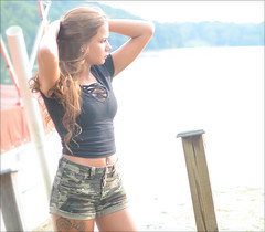 Desiree - Lake Logan (rbatina) Tags: rubbertoe lake logan ohio oh pose posed posing outside amatuer model modeling pretty young cute girl beautiful woman hot lady little small thin skinny petite body size tan brunette long hair teen teenage skin eyes face mouth lips outdoors bare arms legs short shorts camo black tight shirt top curly wavy net covered chest cleavage girly fit athletic belly tummy button ring pierced waist chick babe summer warm overexposed over exposed washed out