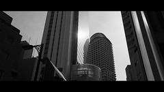 Cinematic Series #01 (Laser Kola) Tags: 2014 laserkola lasseerkola cinematic citylife anamorphic movie blackandwhitephotography blackandwhite monochrome shiny bigcity metropolis skyscraper highrise osaka umeda future canon5dmarkii canon5dmkii 35mm cinematicseries glasshouse widescreen wideangle japan outside