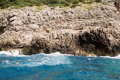 Plava pilja (Blue Grotto) (alekspaunic) Tags: ocean summer nature canon bay rocks waves canona1 analogphotography montenegro adriaticsea photooftheday naturelovers bluegrotto filmphotography shadesofblue bokakotorska bayofkotor plavaspilja zanjice