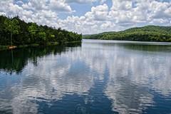 Lake Reflections (brev99) Tags: d7100 sigma1770os leatherwoodlake arkansas eurekasprings landscape trees water dxofilmpack5 reflections colorefex topazdenoise clouds kayak