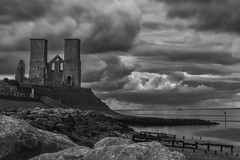 Reculver Towers (Kam Sanghera) Tags: uk sea england bw cloud white black castle beach church canon silver bay kent seaside long exposure mark united iii towers north kingdom filter nd l 5d mm f4 saxon herne 24105 reculver efex