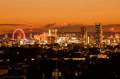 Warm... (peckhamryecrow) Tags: cityscape landscape london londoneye londonskyline manfrotto405gearedhead night orange peckhamryecrow postofficetower se23 timgreen canonef300mmf4lisusm explored