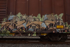 PIKE (TheGraffitiHunters) Tags: graffiti graff spray paint street art colorful freight train tracks benching benched boxcar pike