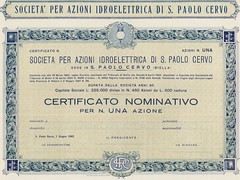 SOC. IDROELETTRICA DI S. PAOLO CERVO (scripofilia) Tags: 1922 biella societidroelettricadispaolocervo