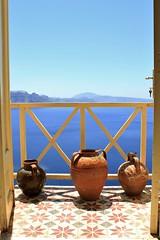Balcony in the Aegean (msiapan) Tags: santorini greece oia balcony aegean sea pots