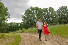 Couple on a romantic walk (Oli_21) Tags: couple paar walk spaziergang nature natur mecklenburg vorpommern mv deutschland germany countryside land red dress rot kleid style outfit fashion love nikon d5100 sigma 50mm f14 cloudy day wolkig mood travel feldweg beautiful photography photo