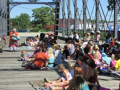 Storytime on the Bridge is a new program at which a librarian reads stories to patrons on the Historical Wells Street Bridge.  It's been great fun so far! (ACPL) Tags: fortwaynein acpl allencountypubliclibrary childrensservices children kids storytime wellsstreetbridge