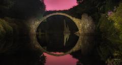 bridge by night (trx_850) Tags: bridge night kromlau rhododendronpark lte lzb lightart lightpainting redsky sky purple water reflection