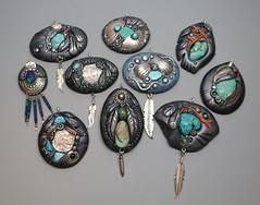 Southwest Pendants (MandarinMoon) Tags: polymerclay polymerclaypendant southwest buffalonickel turquoise coral silver turquoiseandsilverjewelry premo