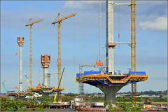 Mersey Gateway Project (All three Pylons) 7th September 2016 (Cassini2008) Tags: merseygatewayproject rubrica engineering rubricaengineering bridgeconstruction formtraveller runcorn widnes rivermersey towercranes