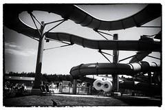 The big slide (halifaxlight) Tags: canada princeedwardisland shiningspringswaterworld waterslide float summer fun bw children adults curves grain