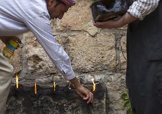 Yezedi Fakirs Lighting Sacred Fire In The Streets, Lalesh Temple, Kurdistan, Iraq