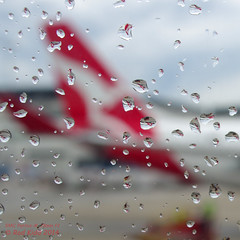 Wet Q tails (OzzRod (catching up)) Tags: travel red square droplets pentax bokeh planes qantas k5 smcpentaxm28mmf2